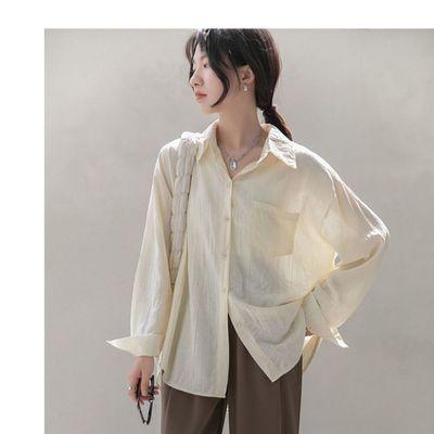 32255/褶皱肌理衬衫女2021夏新款设计感透气防晒衣薄款宽松上衣百搭衬衣