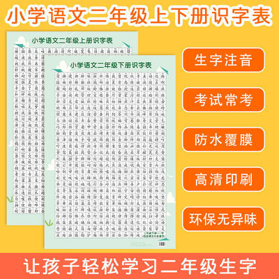 二年级上下册生字识字表挂图课文带拼音汉字同步识字语文墙贴海报