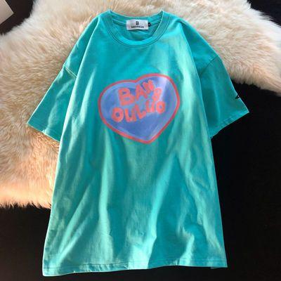 36102/复古字母印花湖蓝色短袖T恤女2021年夏季新款宽松休闲百搭上衣潮