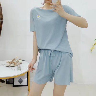 小雏菊睡衣套装2021夏季软软宽松刺绣短袖短裤冰丝运动休闲两件套