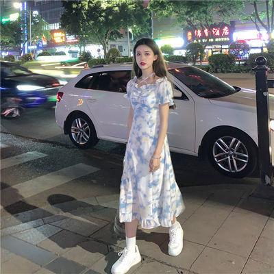 36195/法式扎染碎花连衣裙女夏季2021新款甜美辣妹风温柔初恋裙子ins潮