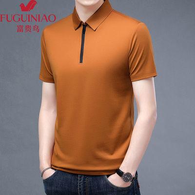 75465/富贵鸟男士新款夏季冰丝短袖休闲宽松纯色T恤拉链POLO衫上衣
