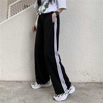 休闲裤长裤女2021网红宽松阔腿春夏秋微喇叭裤直筒大码时尚运动裤