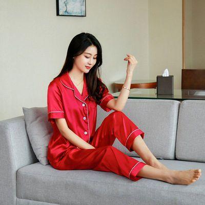 35515/冰丝睡衣女夏季可外穿最新款性感时尚休闲洋气短袖睡衣家居服套装