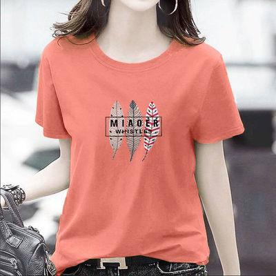 100%纯棉新款女装短袖T恤圆领夏款韩版女半袖印花潮T恤宽松显瘦