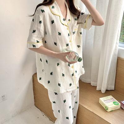 30485/韩国ins风格网红睡衣女夏季薄款纯棉麻纱布短袖短裤长裤两件套装