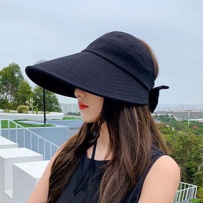 66592/防晒帽女遮脸防紫外线大帽檐可扎马尾帽子夏季棉布遮阳空顶太阳帽