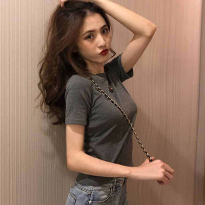 FASHIONS 夏季韩版新款宽松显瘦纯色短袖T恤女装