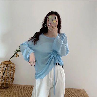 31182/冰丝针织衫女夏薄长袖防晒衣镂空罩衫中长款宽松套头抽绳空调衫女