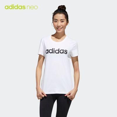 阿迪達斯官網 adidas neo 女裝夏季運動圓領短袖T恤GJ7913 GJ7933