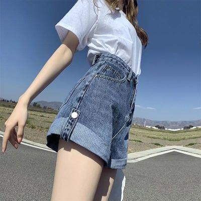 27286/牛仔短裤女夏季宽松高腰显瘦2021年新款a字网红超短裤外穿超火潮