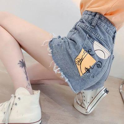27830/大码宽松毛边牛仔短裤女2021夏季新款高腰显瘦个性a字阔腿热裤子