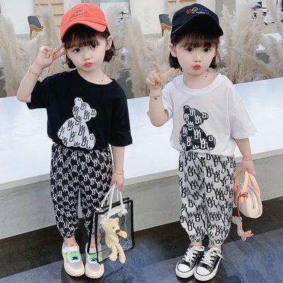 女童套装夏2021新款中小童洋气防蚊裤短袖男儿童时髦运动两件套潮