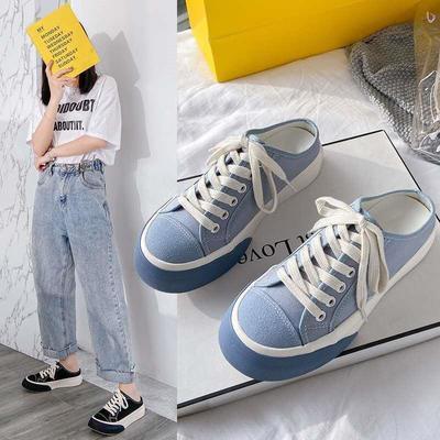 2021夏季新款帆布鞋潮鞋半拖休闲学生女懒人鞋厚底鞋