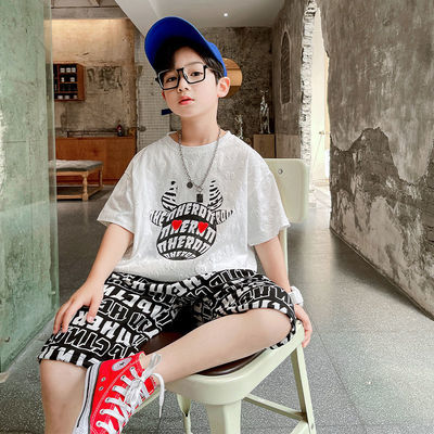 41368/童装男童套装2021新款夏装儿童网红洋气中大童男孩帅气短袖韩版潮