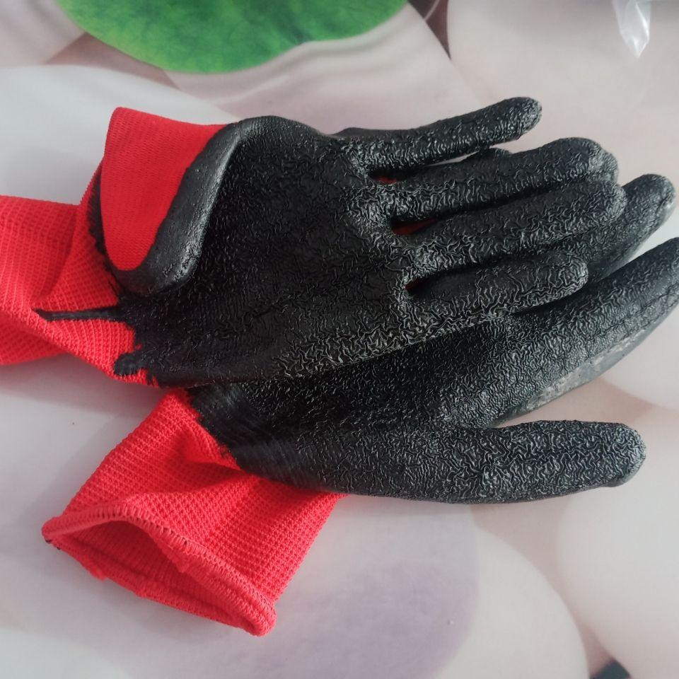 皱纹防滑劳保手套328工作男干活浸胶橡胶加厚防滑工地耐磨手套