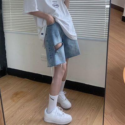 41406/牛仔五分裤女夏季新款ins高腰显瘦破洞直筒中裤网红宽松阔腿短裤