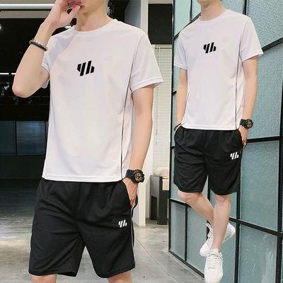 夏季运动套装男跑步服装备速干健身衣服训练T恤宽松休闲冰丝薄款