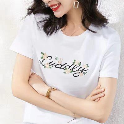 夏季潮流新款女装韩版修身简约纯色纯棉白色短袖t恤女宽松上衣潮