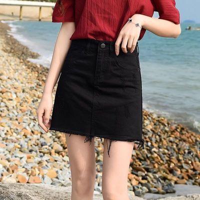33513/(后破洞)夏季韩版显瘦包臀短裙网红不规则毛边a字牛仔半身短裙女