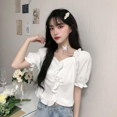 26054/夏季韩版2021新款法式简约设计感荷叶边修身显瘦网红短袖衬衫女装