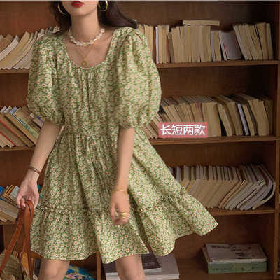 40726/2021夏季新款韩版泡泡袖中长款复古温柔风宽松收腰印花连衣裙显瘦