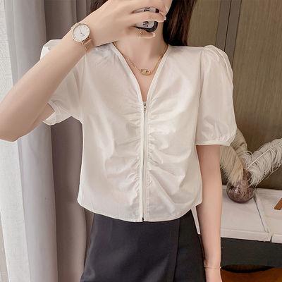 37400/2021新款V领泡泡袖短款衬衫女韩范洋气设计感小众衬衣
