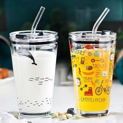 吸管玻璃杯家用杯子卡通风奶茶牛奶带刻度喝果汁水杯女可爱饮料杯