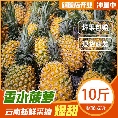 【香水菠萝】【爆甜】云南香水菠萝10斤新鲜热带水果绿皮整箱发货