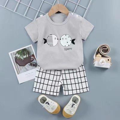 儿童短袖套装夏季新款纯棉打底衫男女童1-8岁休闲夏装婴儿两件套