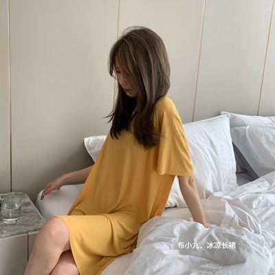 睡裙女夏季冰丝轻薄款2021新款宽松大码中长款甜美可爱休闲家居服