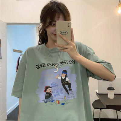 36231/2021年新款夏季短袖t恤女含棉上衣韩风百搭韩版宽松时髦衣服ins潮