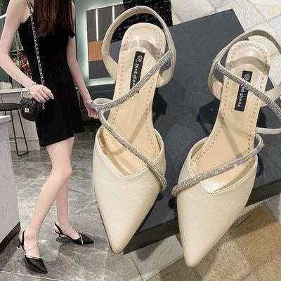 71482/修身高跟鞋女2021夏季新款时尚水钻单鞋仙女风粗跟包头凉鞋女中跟