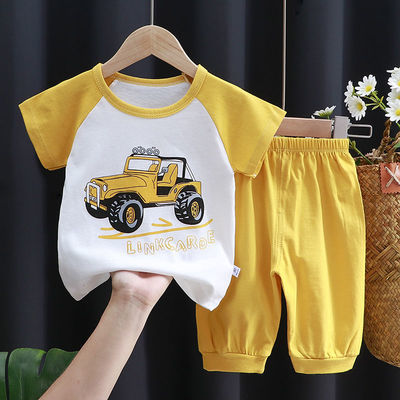 夏季儿童纯棉短袖套装中小童半袖中裤男童女童装夏装宝宝T恤0-7岁