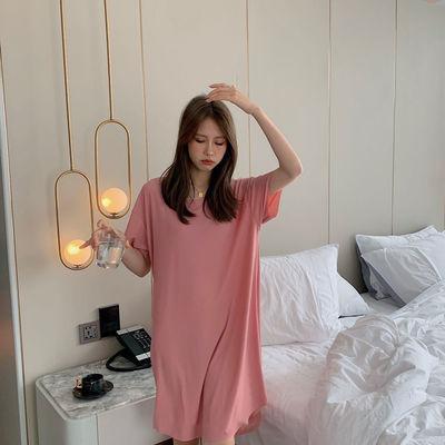 睡裙女夏季轻薄款冰丝2021新款中长款宽松大码甜美可爱休闲家居服