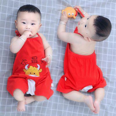 婴儿肚兜纯棉夏季薄款新生儿护肚子神器连腿宝宝短裤开裆露背衣服