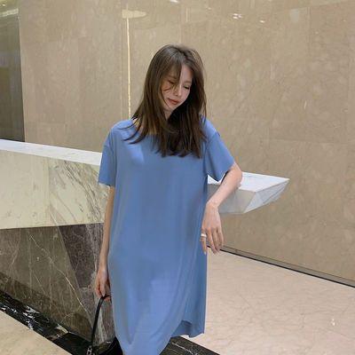 34597/睡裙女夏季薄款2021新款冰丝中长款宽松大码甜美可爱休闲家居服