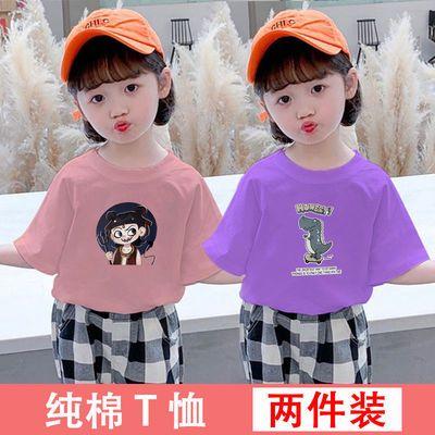 女童短袖t恤纯棉儿童夏装2021新款洋气卡通上衣中小童宝宝衣服潮