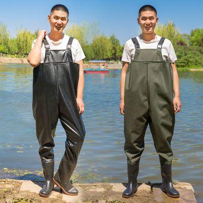 60392/下水裤加厚耐磨雨裤水叉衩裤半身连体捕鱼防水衣服水鞋