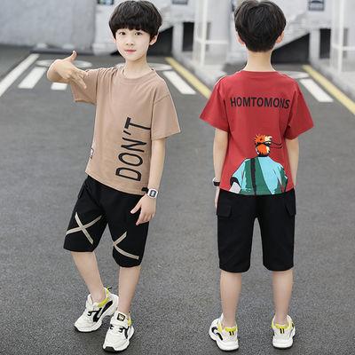 男童短袖套装夏装新款儿童装中大童时尚洋气牛仔装两件套时髦童装