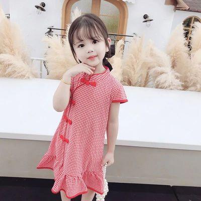 女童旗袍连衣裙2021夏季新款中国风格子短袖连衣裙儿童唐装裙子