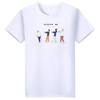 原宿宽松T恤男女bf百搭简约圆领短袖春夏纯色中长款基础打底衫