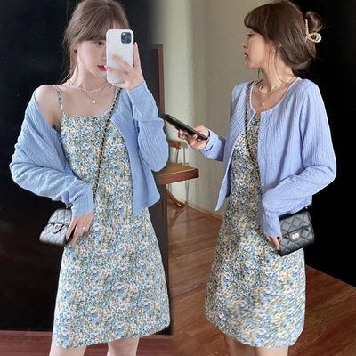 30958/开衫+碎花连衣裙两件套女2021夏季新款收腰显瘦茶歇裙度假风长裙