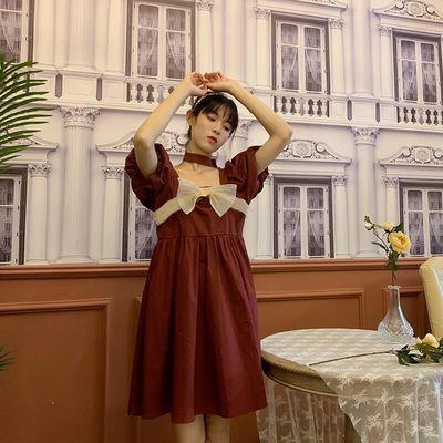 41380/红色连衣裙中长款夏季法式复古方领泡泡袖裙子小众甜美高腰公主裙