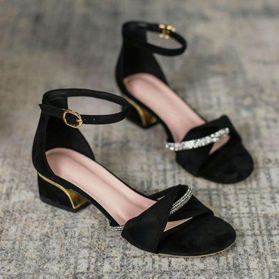 33067/时装凉鞋女2021新款夏季爆款粗跟一字带水钻仙女配裙子法式高跟鞋