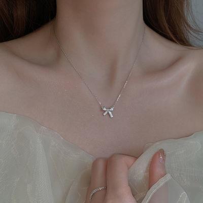69838/蝴蝶结项链女925银闪钻简约设计小众气质ins冷淡风高级感锁骨链