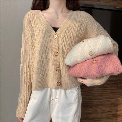 66887/针织衫秋季新款女装开衫上衣毛衣2021年外套网红春季粉色v领外穿