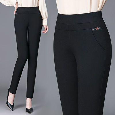 妈妈裤子女2021春秋新款弹力直筒休闲长裤外穿显瘦百搭中老年女裤