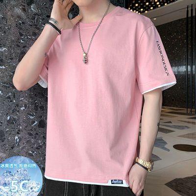 73231/冰感t恤短袖男士2021新款夏季衣服学生潮流韩版宽松纯棉圆领半袖