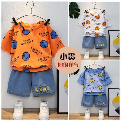 儿童套装2021夏季短袖牛仔套装中小童男女宝宝韩版洋气潮流两件套